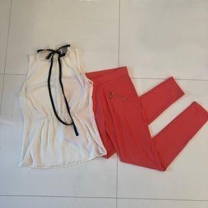 Pants - Coral Leggings with gold zipper details